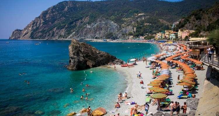View Of Beach In Monterosso Al Mare. Cinque Terre. Italy